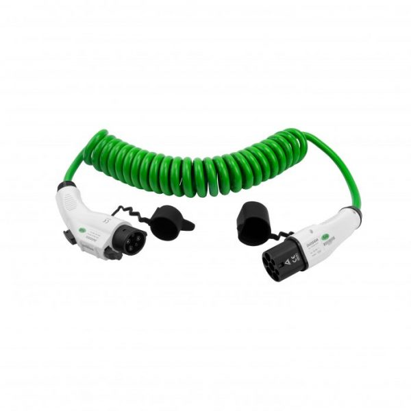 EV charging cable Type 1 to Type 2 Spiral